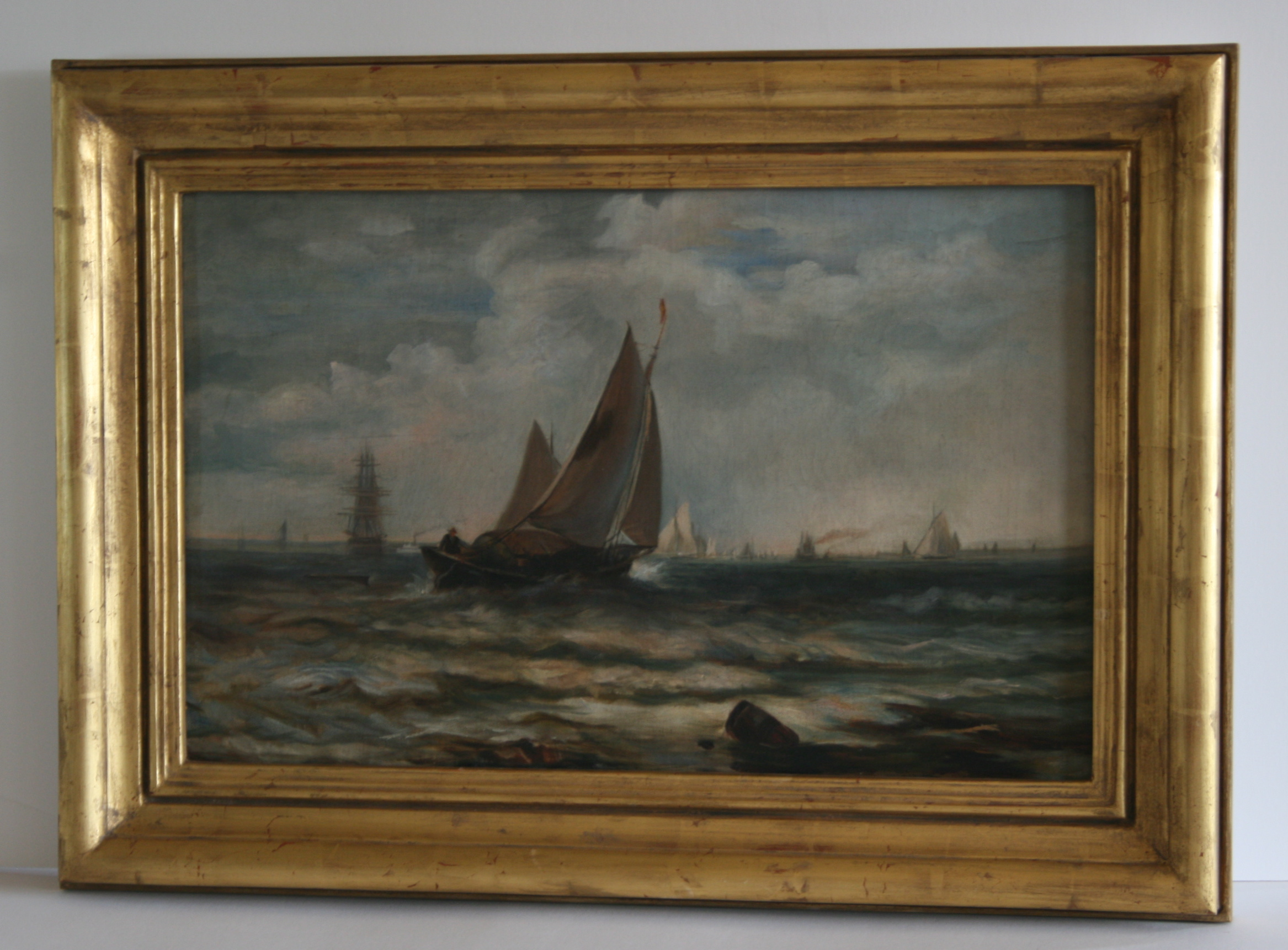 circa 1850 nautical painting restored and framed miller fenwood