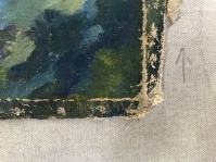 There's a signature in there, partly ravaged by the paint surface being the same size as the canvas, and, therefore, when the stretcher bar is put into place, the perimeter of the canvas folds around the stretcher bar, and that folded area sits against the frame, unviewable.